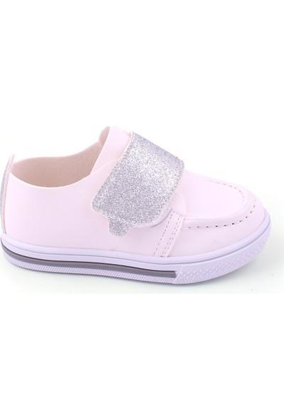 Akıllı Şirin İlk Adım Kız Çocuk Mevsimlik Ayakkabı Beyaz Gümüş