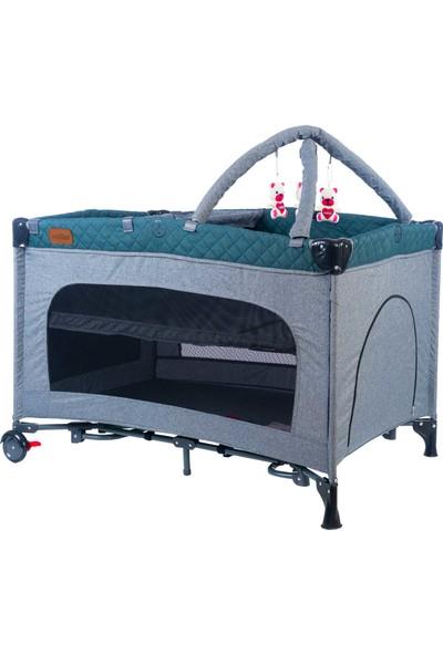 Maller Baby Basel Oyun Parkı Oyuncaklı - Katlı - Sallama Aparatı - Tekerlekli