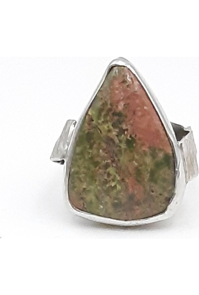 Just4you 925 Ayar Gümüş Jasper Doğal Taşlı Rodyum Kaplama Özel Tasarım El Yapımı Yüzük