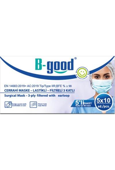 B-Good Filtreli 3 Katlı Lastikli Cerrahi Maske 50'li 2 Kutu ( 5'erli Paketlenmiş)