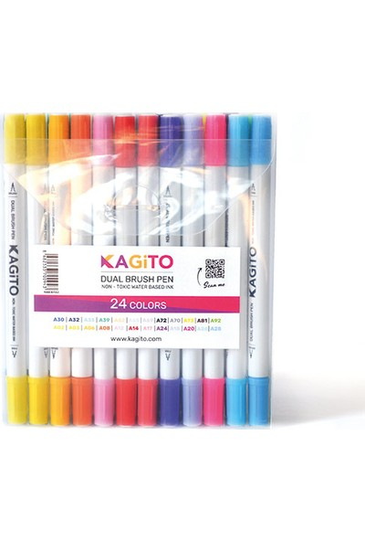 Kagito Çift Taraflı Brush Pen 24'lü Set