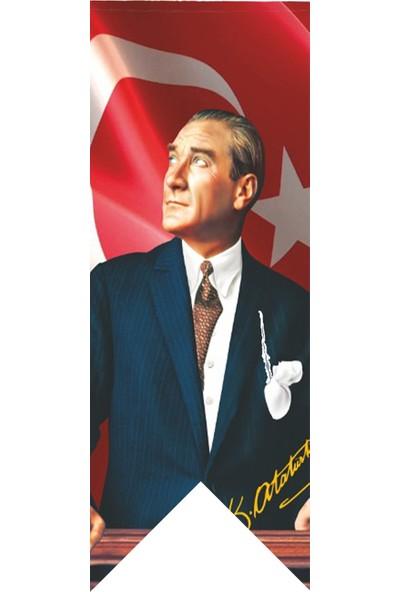 Antalya Dünya Bayrak Atatürk Trenden Bakış Posterli Kırlangıç Bayrağı 100 x 300 cm