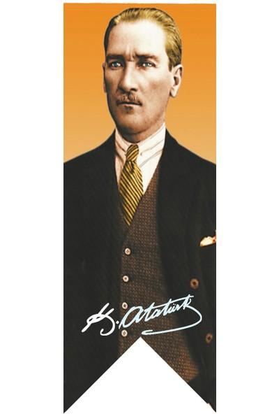 Antalya Dünya Bayrak Atatürk Imza Posterli Kırlangıç Bayrağı 100 x 300 cm
