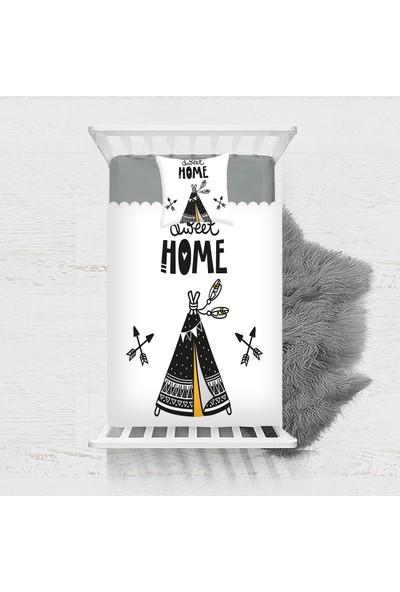 Else Siyah Sarı Çadırlı Iskandinav Desenli Dekoratif Çocuk Yatak Örtüsü