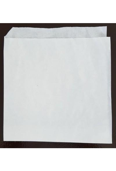 Ecosys Ambalaj 16X16 cm 2000 Ad/koli Kraft Kağıt Hamburger Poşeti Beyaz Düz Baskısız Kese Kağıdı