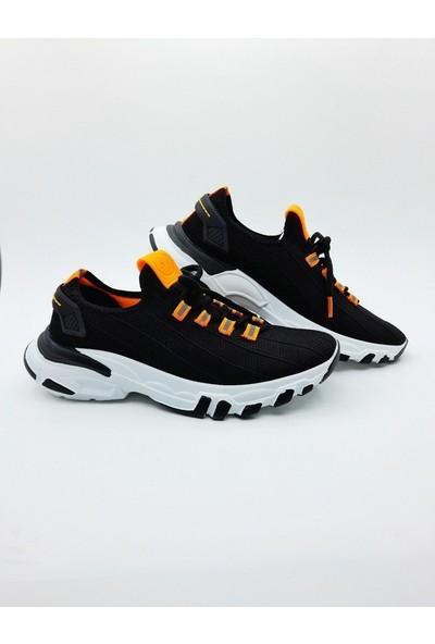 Nbn Marka Trio Model Siyah - Turuncu Günlük Spor Ayakkabı Özel Örme Triko Malzeme Yazlık Model