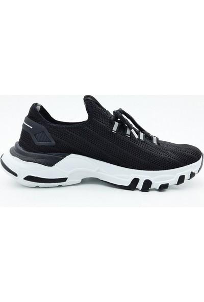 Nbn Marka Trio Model Siyah - Beyaz Günlük Spor Ayakkabı Özel Örme Triko Malzeme Yazlık Model