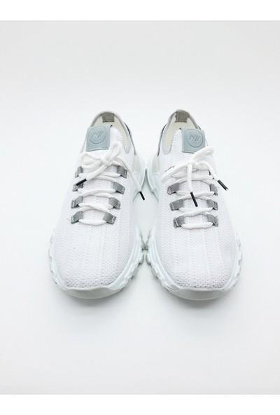 Nbn Marka Trio Model Beyaz-Gri Günlük Spor Ayakkabı Özel Örme Triko Malzeme Yazlık Model