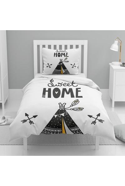 Else Siyah Sarı Çadırlı Iskandinav Desenli Tek Kişilik Çocuk Nevresim Takımı