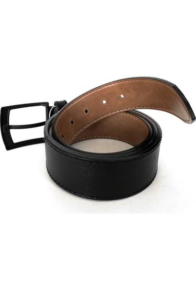 Cascades Leather Suni Deri 4,5 cm Dikişli Siyah Renk Erkek Kot Pantolon Kemer