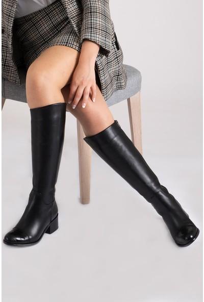 CZ London Deri Kadın Fermuarlı Croco Desenli Lastikli Topuklu Çizme