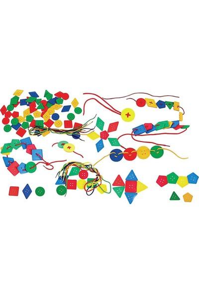 King Kids Geometrik Düğmeler Ipe Geçirme Oyunu 96 Parça