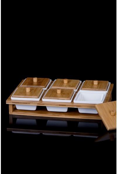 Acar La Pure Bambu Tepsi 6'lı Kare Porselen Kahvaltılık