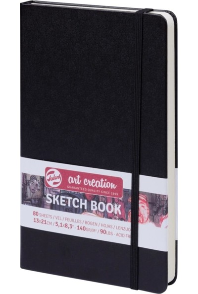 Talens Sketchbook Sert Kapak Eskiz Çizim Defteri 13 x 21 cm A5 140 gr 80 Yaprak Siyah
