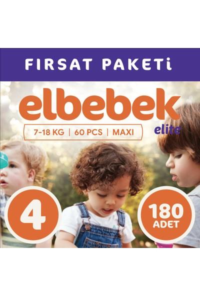 Elbebek Elite Bebek Bezi 4 Numara Maxi 180 Adet