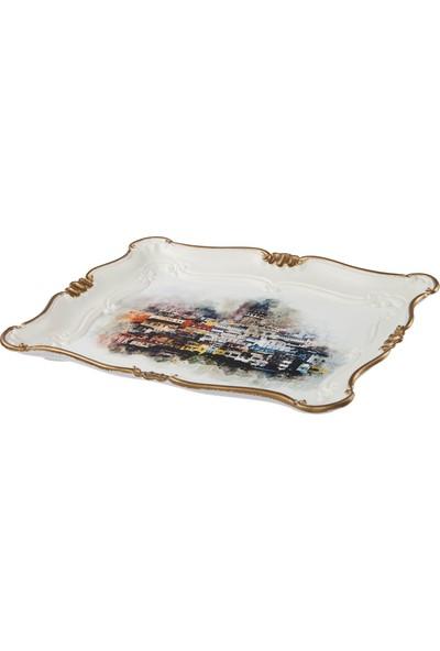 Zucci Sultan 33 x 42 Galata Manzaralı Yaldızlı Beyaz Sunum Tepsisi