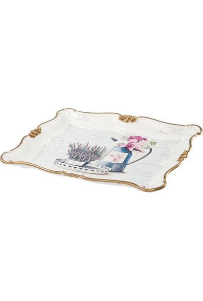 Zucci Sultan 33 x 42 Sulama Kabı Desenli Yaldızlı Beyaz Sunum Tepsisi