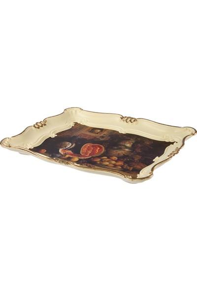 Zucci Sultan 33 x 42 cm Tablo Desenli Yaldızlı Krem Sunum Tepsisi