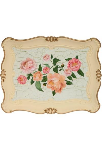 Zucci Sultan 33 x 42 cm Büyük Çiçek Desenli Yaldızlı Krem Sunum Tepsisi