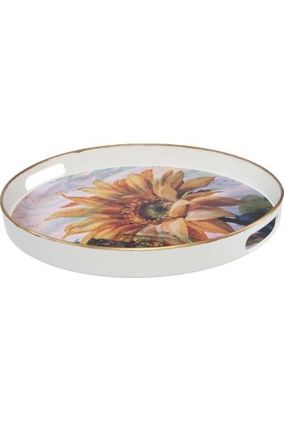 Zucci White Edition 42 cm Yuvarlak Sarı Papatya Desenli Tepsi