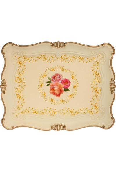 Zucci Sultan 33 x 42 cm Küçük Çiçek Desenli Yaldızlı Krem Sunum Tepsisi