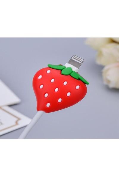 Mkey Sevimli Çilek Figürlü USB Kablo Koruyucu