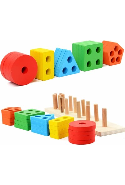Ayas Eğitici Oyuncak Ahşap 5'li Renkli Geometrik Şekilli Geçirme Oyunu