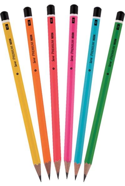 Serve Premium Kurşun Kalem Neon 6lı