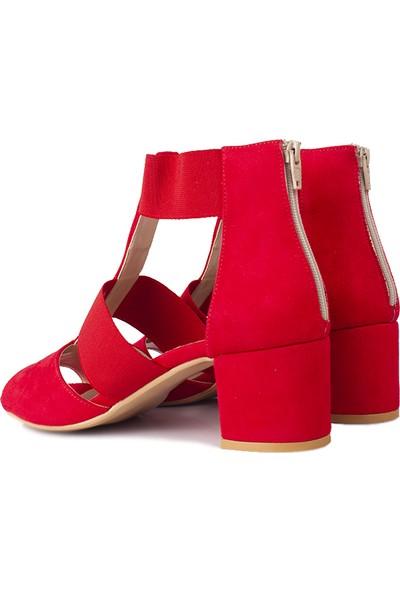 Loggalin 111212 527 Kadın Kırmızı Topuklu Sandalet