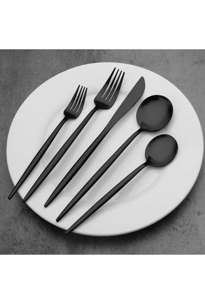 Bilderberg Siyah Paslanmaz Çelik 30 Parça Çatal Bıçak Kaşık Seti