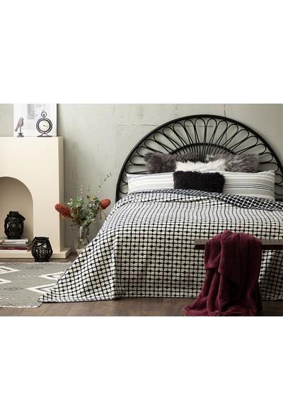 English Home Pamuklu Çift Kişilik Battaniye 200 x 220 cm cm Beyaz - Lacivert