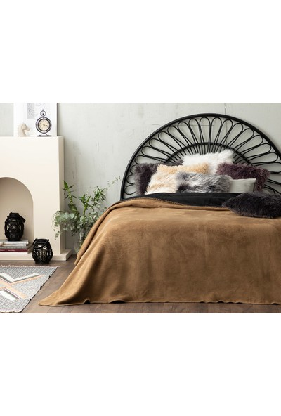 English Home Plain Pamuklu Çift Kişilik Battaniye 200 x 220 cm cm Siyah-Bej