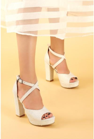 Ayakland 3210-2058 Çupra Abiye 11 Cm Platform Topuk Kadın Sandalet Ayakkabı Sedef