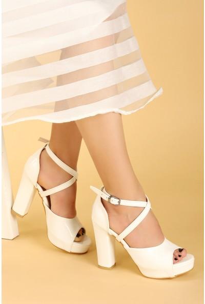 Ayakland 3210-2058 Rugan Abiye 11 Cm Platform Topuk Kadın Sandalet Ayakkabı Beyaz