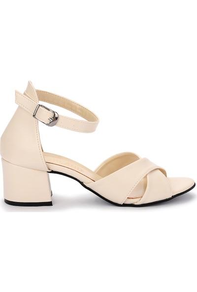 Ayakland Bsm 61-5 Cilt Kadın 5 Cm Topuk Sandalet Ayakkabı Ten