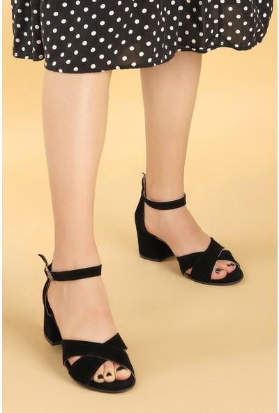 Ayakland Bsm 61-5 Süet Kadın 5 Cm Topuk Sandalet Ayakkabı