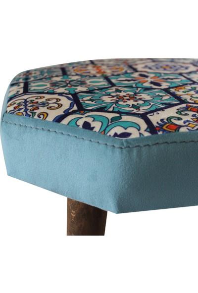 Arasta Life Style Ece Sekizgen Tiled Desen Ahşap Bacaklı Puf Tabure