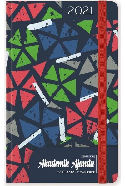 Gıpta Akademik 2020-2022 Ajanda Haftalık 160-PSK 3 Renk Üçgenler 17 x 24 cm