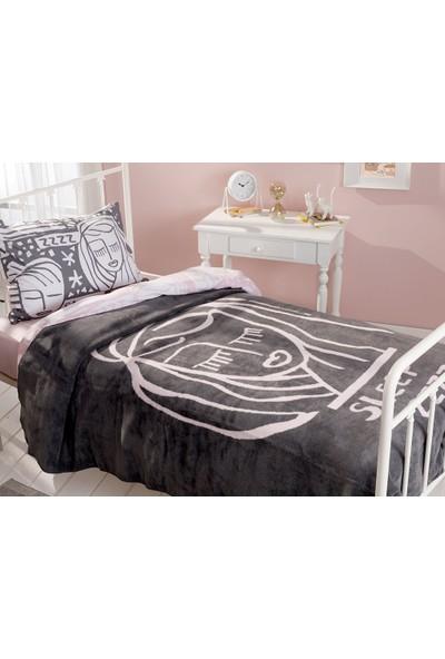 English Home Girl Face Pamuklu Tek Kişilik Çocuk Battaniye 150 x 200 cm Antrasit