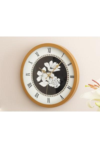 English Home Monochrome Cam Plastik Duvar Saati 30 cm Siyah