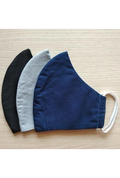 3D Product Sale Düz Renk Erkek Maske %100 Pamuklu Yıkanabilir Kolay Model 3 Adet