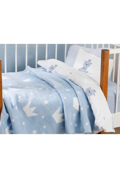 English Home Mini Crown Pamuklu Bebe Battaniye 100 x 120 cm Mavi