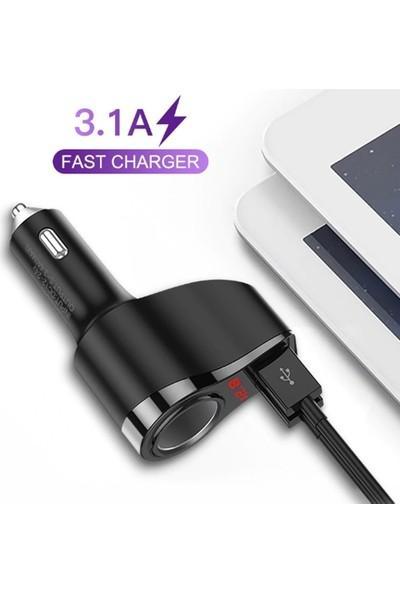 Kuulaa 3.1A Çift USB Dijital Ekran Araba Çakmaklık Şarj Cihazı AL-32552