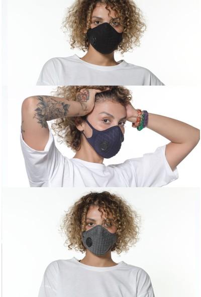 Oxy 3'lü Ayarlanabilen Filtreli %100 Pamuklu Koyu Renkli Yıkanabilir Maske Paketi