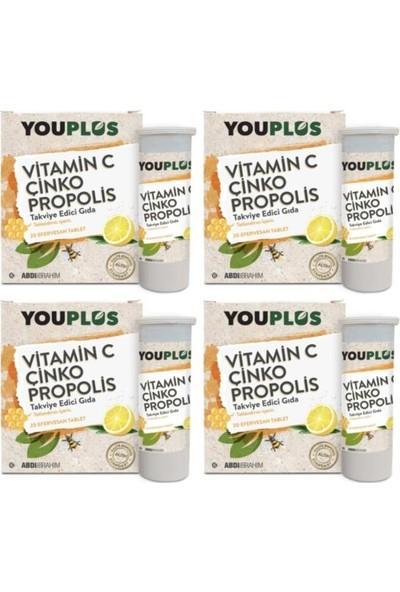 You Plus Vitamin C Çinko Propolis 20 Efervesan Tb 4'lü
