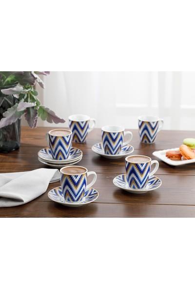English Home Eva Porselen 12 Parça Kahve Fincan Takımı 100 ml Mavi