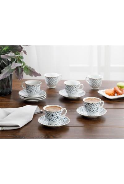 English Home Belize Porselen 12 Parça Kahve Fincan Takımı 90 ml Mavi - Kırık Beyaz