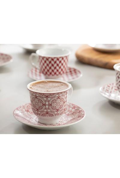 English Home Arista Porselen 12 Parça Kahve Fincan Takımı 90 ml Bordo