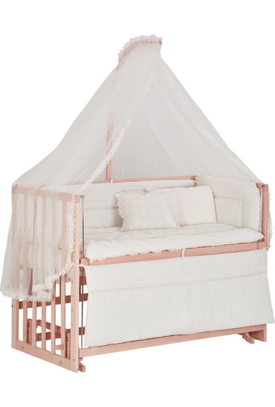 Babycom Naturel Ahşap Boyasız Anne Yanı Beşik 60 x 120 cm Kademeli Beşik + Uyku Seti