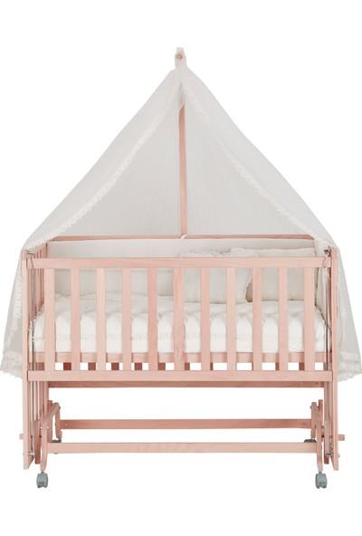 Babycom Doğal Boyasız - Tekerlekli - 4 Kademeli Anne Yanı Ahşap 60 x 120 Beşik + Uyku Seti